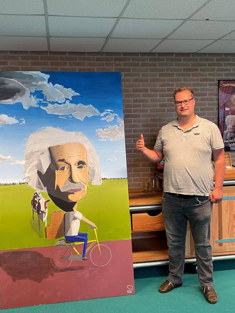 Einstein krijgt prachtig schilderij cadeau